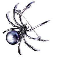 mücevher broşu örümcekleri toptan satış-Kore Moda Kişilik Siyah Örümcek Zirkon Broş High-End Kadın Broş Kadın Hediye Takı Ile Erkekler Ve Kadınlar Toptan