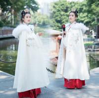 casaco chinês mulher venda por atacado-2020 nupcial Wraps inverno Brasão casamento Costumes Hanfu Mulheres Outono e Inverno Cloak Brasão Estilo chinês Flor Bordado Tradicional Chinesa