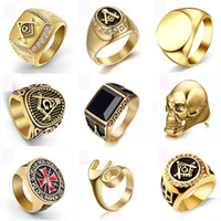 Wholesale gold ring castings resale online - Gold color fashion attractive titanium steel ring personality domineering skull titanium steel ring men casting genstone champion rings