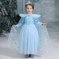 Wholesale tutu skirt cotton dress resale online - DHL years baby girl cosplay skirts sequined long sleeve snowflake printed snow queen costume floor dress with cape movie II tutus