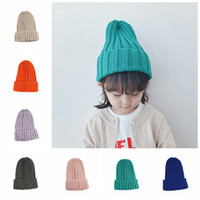 Wholesale free knit crochet patterns for sale - Group buy Baby girl boy top beanie hats candy colors multi knit pattern toddler kids outdoor warm winter crochet hats