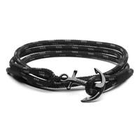 bracelete da corda da esperança venda por atacado-Tom esperança pulseira 4 tamanho Feitos À Mão Triplo Preto fio da corda pulseira de aço inoxidável preto âncora encantos pulseira com caixa e tag TH6