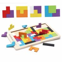 intellektuelle spielzeug großhandel-Bunte Holz Tangram Gehirnjogging Puzzle Spielzeug Tetris Game Vorschul magination Intellectual Educational Kind Spielzeug GYH