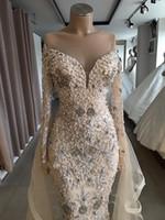 Wholesale removable off shoulder wedding dress for sale - Group buy Dubai Wedding Dresses Beads Crystal Removable Skirt Off the Shoulder Bridal Gown Full Sleeves vestido de noiva
