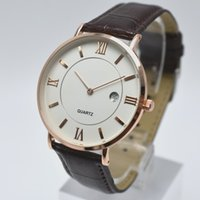 Wholesale white pin needle resale online - Ultra thin dial two needle mm luxury quartz leather belt mens watches auto date men dress designer watch dropshipping men wristwatch gifts