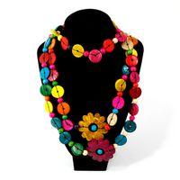 kadınlar için ahşap kolyeler toptan satış-Vintage Uzun Çiçekler Kolye Kolye Bohemian Bildirimi Ahşap El Yapımı Gerdanlık Kolye Kadın Hediye Moda Aksesuarları