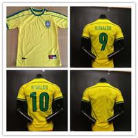 jerseys de futebol frete grátis venda por atacado-Qualidade máxima ! Brasil Retro camisa de futebol jerseys 1998 copa do mundo brasil rivaldo / r. brasil brasil camisa de futebol jerseys frete grátis