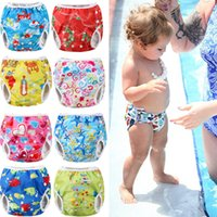 Wholesale cute boys diapers resale online - Adjustable Reusable Baby Summer Boys Girls Shorts Summer Cute Floral Swim Diaper Swimming Trunks Waterproof Swimwear