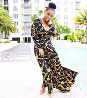 traditionelle heiße kleider großhandel-2019 heißer Verkauf Neue Mode Design Traditionelle Afrikanische Kleidung Drucken Dashiki Nizza Hals Afrikanische Kleider für Frauen K8155