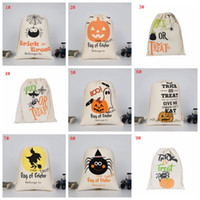 Wholesale drawstring storage bag for sale - Group buy Halloween Storage Canvas Bag Large Capacity Clothes Sundries Drawstring Bag Halloween Candy Gift Bag Organizer Pouch VT0429