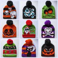 Wholesale light up decor resale online - LED Christmas Beanies Knitted Hats Light up Unisex Winter Warm Skull Caps Xmas Halloween Decor Fashion Pompon Ball Hats TTA1643