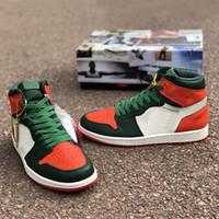 ingrosso la arancia-Le nuovissime scarpe OG-Solefiy High Baksetball 1s Orange Black White Green sono le scarpe da ginnastica per atleti di moda di marca