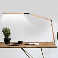 abrazadera de luz ajustable al por mayor-Lámpara de escritorio LED Lámpara de trabajo Lámpara de mesa de metal Brazo oscilante Lámpara de mesa regulable con abrazadera remota Luz de mesa de trabajo altamente ajustable Reino Unido EE. UU. UE AU Enchufe