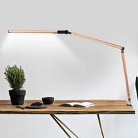 ingrosso morsetto di luce regolabile-Lampada da tavolo a LED Lampada da tavolo per architetti Lampada da tavolo dimmerabile in metallo con morsetto a distanza Lampada da banco altamente regolabile UK US EU AU Plug