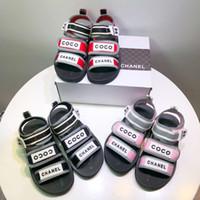 ingrosso sandali nera della piattaforma della cuneo-Sandalo bimbo nero per scarpe da ragazzo scarpe estive fashion designer sandali con zeppa ragazza rossa zeppa Eu 26-35