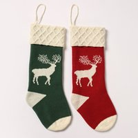 Wholesale cartoon christmas socks for sale - Group buy fashion Christmas stocking Plaid Elk Hanging Socks Decor Socks Gift Candy Bag Stocking New Year Christmas Decorative socks bagsT2I5494