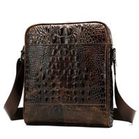 ingrosso uomo borsa piccola impresa-Vendita calda coccodrillo moda uomo briefcase in vera pelle piccola coccodrillo borsa da lavoro valigetta di lusso crossbody bag per mens # 630460