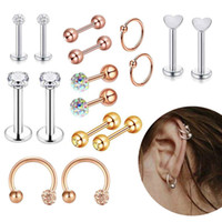 Wholesale tragus stud jewelry for sale - Group buy Fashion Prong Tragus Cartilage Stainless Steel Ear Stud Crystal Zircon Earrings Piercing Nose Stud Jewelry Gift