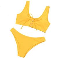 maillot de bain jaune push up achat en gros de-Bikini Ensemble Push Up Bikini Brésilien Mujer Femmes Été 2019 Sexy Jaune Femme Maillots De Bain Maillot De Bain Femme Biquinis 2018