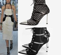 Wholesale pump lace up booties resale online - Genuine Leather Stiletto heel Summer Booties Punk Style Cut out Sexy Ladies Gladiators Women Bridal Pumps