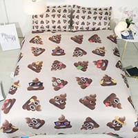 коричневый одеяло наборы королева оптовых-Полуют Emoji постельных Twin Bed In A Bag Emoji Одеяло Обложка королева пододеяльник набор Браун Кинг Красочные Покрывала King Size NO Утешитель