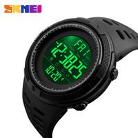 cuenta regresiva reloj digital al por mayor-SKMEI New Chrono para hombre Relojes de pulsera digital deporte Countdown Hombres Moda Alarma 2 Hora del reloj Relojes Hombre reloj hombre 1251