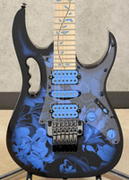 baum leben einlege-e-gitarren großhandel-JEM77P BFP Blau Blumenmuster Steve Vai 7V E-Gitarre 5-PC Hals, Tree of Life Inlay, Floyd Rose Tremolo, Kontermutter, schwarze Hardware