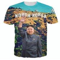 casual kleidung männer korea großhandel-Unisex Sommer Stil Nordkorea Kim Jong Un T-Shirt Frauen Männer 3D Print Harajuku Shirt Mode Kleidung Kurzarm Lässige Hip Hop Tees