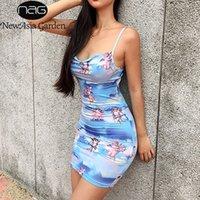 ingrosso abito blu angelo-NewAsia Blue Angel stampa sexy aderente abito donna cinturini sottili backless party dress moda casual streetwear abito estivo corto