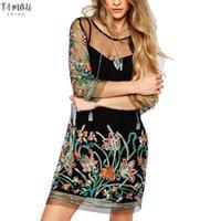 ingrosso abito mini vestito spandex-Summer Dress Donne 2020 Sheer Mesh See Through Spaghetti Strap Flower Dress ricamo mini vestito clubwear femminile Plus Size 5XL