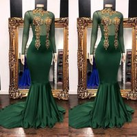 Wholesale customized high neck evening dresses for sale - Group buy Customize Dark Green with Gold Applique Mermaid Prom Dresses Sheer Long Sleeve High Neck Sweep Train Evening Gowns Formal