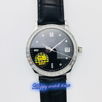 Wholesale modified auto for sale - Group buy GB Top version R Black Dial Silver Diamond Bezel Modified SC Movement Sapphire Mens Watch Leather Strap Business Watches