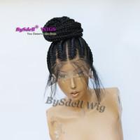 afrika saç örgüleri toptan satış-Örgülü saç tam dantel peruk sentetik elyaf saç kutusu örgü saç siyah kadınlar için Afro-amerikan örgü saç tam dantel peruk