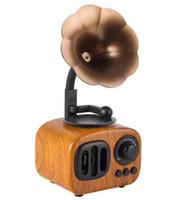 kostenlose videos handys großhandel-2019AS90 Holz Retro Phonograph Bluetooth Lautsprecher Literarische Subwoofer Mini Drahtlose Klassische Lautsprecher Super Bass Stereo Lautsprecher