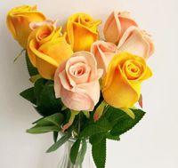 schwarze lila rosen großhandel-Real Touch Rosen-Fälschungs-Blumen-Rosa / blau / schwarz / rot / gelb / lila PU Rosen künstliche Rose 43cm für Hochzeit dekorative Blumen