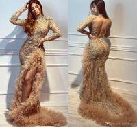vestidos de baile sexy árabes venda por atacado-Wear Aso Ebi Arabian ouro contas Prom Vestidos HGigh Neck Mermiad manga comprida Lace apliques Vestidos Sexy Partido com alta Side Dividir
