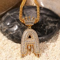 Wholesale sliding bails jewelry resale online - Custom Crown Bail Drip Bubble Initial Letters Chain Necklaces Pendant For Men Women Gold Color Cubic Zircon Hip Hop Jewelry