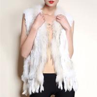 chalecos de conejo mujeres al por mayor-Las mujeres de piel de conejo borlas chaleco abrigo 2018 invierno mujer moda sin mangas Tops Lady Luxury Raccon Fluffy Cardigans chaquetas abrigo