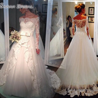 Wholesale plus size gray belt for sale - Modest Lace Wedding Dresses White Bateau Neck Sleeveless A Line With Belt Covered Button Back Court Train Tulle Bridal Gowns