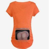 schwangere frauen lässig großhandel-Nette Sommer schwangere Mutterschaftst-shirts Kurzarm-beiläufige Schwangerschafts-Kleidung lustig für schwangere Frauen