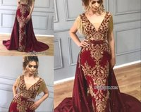 Wholesale attach dress resale online - Evening Dresses Luxury Designer Tassels Prom Dress Crystal Sequined Bling Burgundy Attached Train Mermaid Formal Pageant Gowns