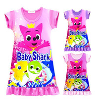 Wholesale baby clothing cartoon for sale - Girls Baby Shark Dress Kids Cute Cartoon Shark Print Short Sleeve Pajamas Dresses Summer Skirt Night Clothes Home Clothing CCA11234