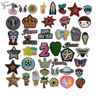 Wholesale clothing patches for sale resale online - Hot sale Mixture Embroidery Applique Cartoon iron on Patch for Clothes Sequin badges Animal stickers DIY Sewing Accessories