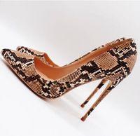 ingrosso scarpe stiletto-Con scatola 2019 Scarpe lussuose di moda tacchi a spillo tacchi a spillo Tan serpente pitone punta a punta sexy tacco alto pompe scarpe scarpe da sposa 12 cm 10 cm 8 cm
