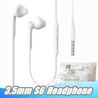 ingrosso controllo auricolare del mic del microfono a distanza-Auricolari con auricolari cablati in-ear da 3,5 mm Auricolari con microfono e cuffie per il controllo del volume a distanza per Samsung Galaxy S6 S8 S9 senza imballaggio