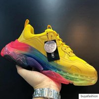Wholesale shoe best price for sale - Group buy Triple S Pink Shoes New Version Clear Sole Triple Designer Sneakers Triple Vintage Chaussette Ladies Shoes Men Best Price C04