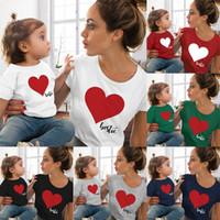семейные летние наряды оптовых-Family Matching Outfits мама и дочка с принтом в виде сердца футболка летний бутик из хлопка с сердечками хорошего качества