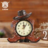botas de resina al por mayor-Estilo pastoral americano bota doble puntero reloj hecho a mano resina reloj despertador barra de hogar decoraciones16.2 CM * 3.8 CM * 15.4 CM