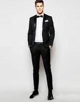 ingrosso vestiti sottili adatti gli abiti 46-Smoking Bottoni Uomo Nero Slim Fit Smoking Groomsmen Da Uomo Per Uomo Blazer Designer Intagliato Vestito Con Abito Risvolto (Giacca + Pantaloni)