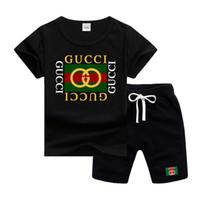 bebek erkek markaları giysileri toptan satış-GC Marka Logosu Lüks Tasarımcı Çocuk Giyim Setleri Yaz Bebek Giysileri Baskı Erkek Kıyafetleri için Toddler Moda T-shirt Şort Çoc ...